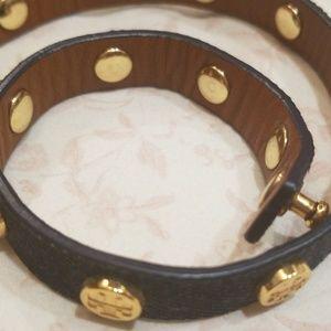 Tory Burch Jewelry - Tory Burch Leather Wrap Bracelet Denim Gold